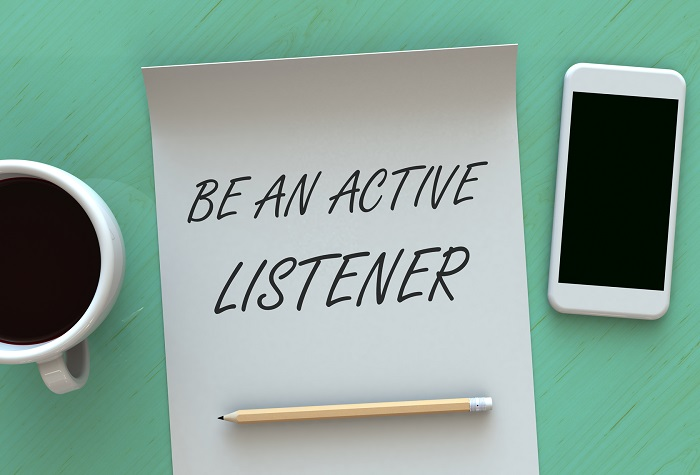 Be An Active Listener, message on paper